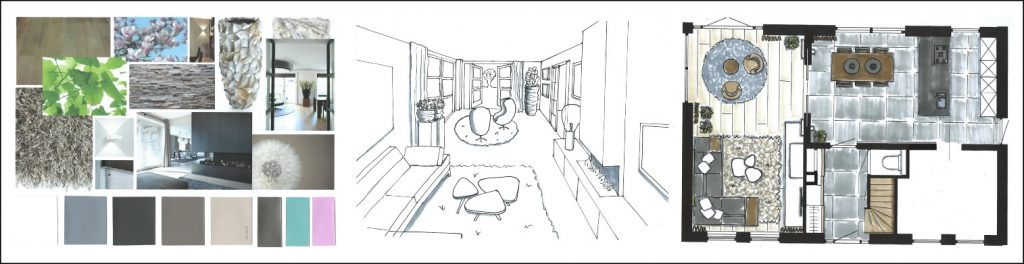 Interieurontwerp 3Dschets kleurplan lichtplan interieurstyling design barendrecht regio rotterdam nieuwbouwwoning
